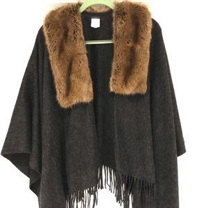 Wool and faux-fur poncho